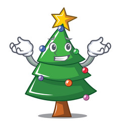 Grinning christmas tree character cartoon vector