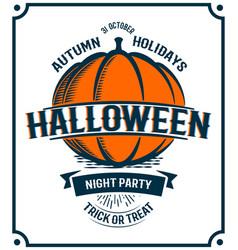 Halloween retro invitation pumpkin vector