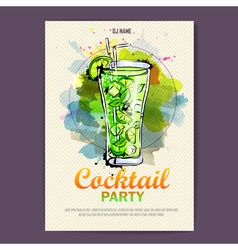 Hand drawn artistic cocktail disco poster vector image