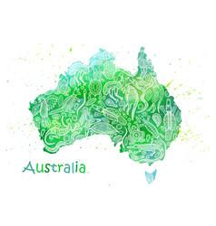 Hand drawn watercolor map australia vector