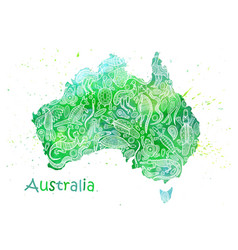 Hand drawn watercolor map of australia with vector