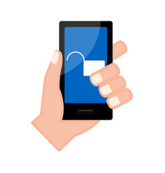 Hand holding a smartphone with a lockpad icon vector