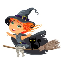 Happy Halloween Little witch flying on a broom vector image