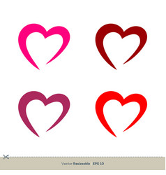Heart swoosh love icon logo template design eps 10 vector