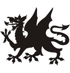 heraldic dragon tattoo black white silhouette vector image