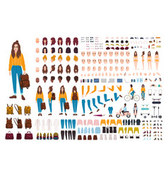 Hipster girl creation kit set of flat female vector
