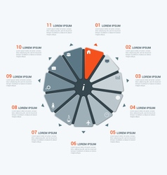 Infographic temlate with hendecagon 11 options vector