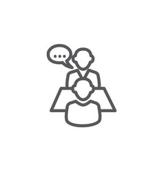 Interview line icon on white background vector