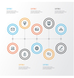 Job outline icons set collection of statistics vector