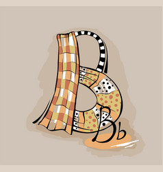 letter b stylized alphabet light textile vector image
