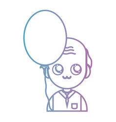 line old man with cloyhes and balloon design vector image