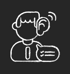 Listening skills chalk white icon on black vector