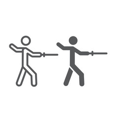 man fencing line and glyph icon sport and vector image