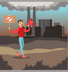 Man protesting standing on air pollution vector