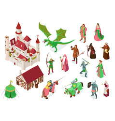Medieval fairy tale isometric set vector