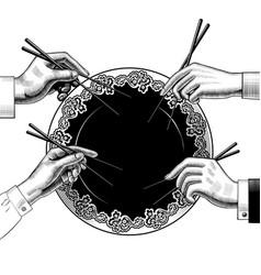 menu japan restaurant male and female hands vector image