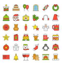 Merry christmas icon set 4 filled outline vector