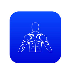 Muscular man with tattoo icon digital blue vector