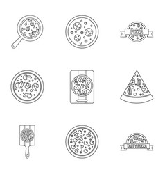 mushroom pizza icons set outline style vector image