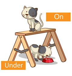 Opposite preposition words with on and under vector