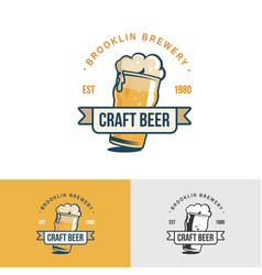 original vintage craft beer logo template vector image