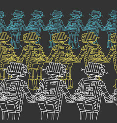 Pattern group of robots and personal computer vector