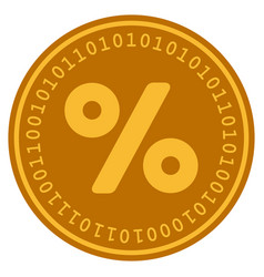 Percent digital coin vector