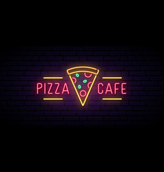 pizza cafe neon sign bright advertising signboard vector image