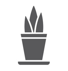 Plant in pot glyph icon floral home flowerpot vector