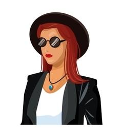 portrait wo fashion red hair hat sunglasses black vector image
