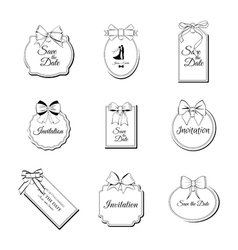 Price Tags with Twine Bows Set Paper Label Design vector