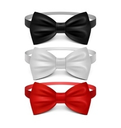 Realistic white black and red bow tie set vector image