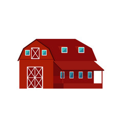red wooden farm barn - agricultural building for vector image