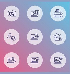 search icons line style set with search content vector image