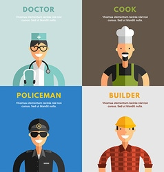 Set of Flat Design of Professional People vector
