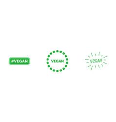 set various signs on vegan theme tag vegan vector image