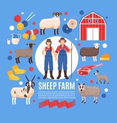 sheep breeding farm poster vector image