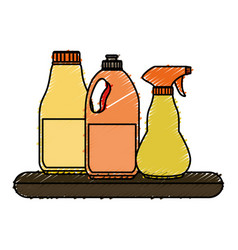 shelf with laundry products in plastic bottles vector image