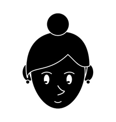 Silhouette face cartoon girl rings vector