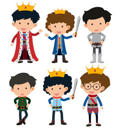 Six characters of prince and knight vector