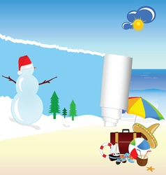 snowman and beach stuff vector image