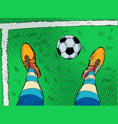 soccer player and ball feet shoes profession vector image