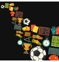 Sports background with soccer football flat icons vector image
