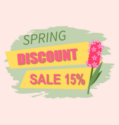springtime label with flowers web offer vector image