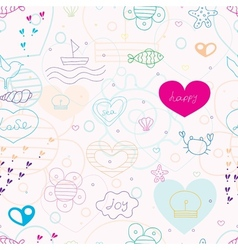 summer pattern with red hearts vector image