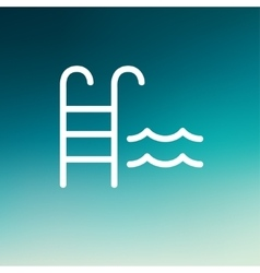 Swimming pool ladder thin line icon vector