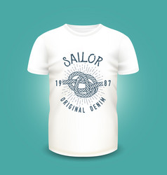 t-shirt mockup with marine knot print sunburst vector image