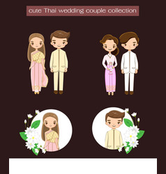 Thai wedding couple in traditional dress vector