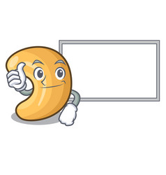 thumbs up with board character cashew nuts heap on vector image