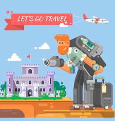 tourist with a suitcase and a camera vector image